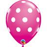 "Wild Berry Pink w/ White Polka Dots, Set of (12), 11"" Latex Balloons"