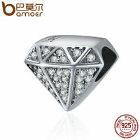 BAMOER Solid S925 Sterling silver Charm love & Clear CZ For bracelet Jewelry
