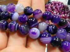 """8mm Striped Purple Agate Onyx Round Gems Loose Beads 15"""" AAA"""