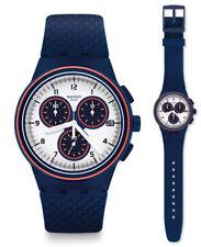 SWATCH parabordo Reloj susn412 Análogo Cronógrafo Silicona Azul Oscuro