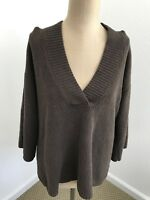 J Jill Womens Sweater V-Neck Ribbed 3/4 Sleeve XS Ultra Soft Top Brown