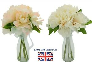 Artificial Peony Bouquet Ivory or Pink 30 cm