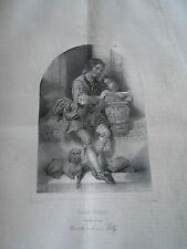 Litho 1840  Luther Enfant avec son chien Le charivari