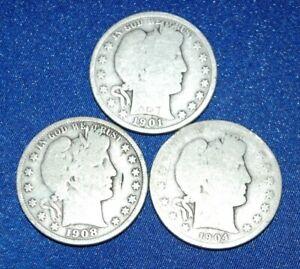 Lot of 3 Barber Half Dollars: 1901, 1904, 1908 total of 35 grams