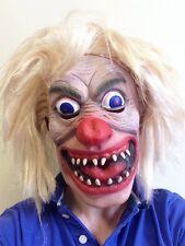 Masque de clown fou cheveux blonds perruque Horreur Jester Joker Fantaisie parti