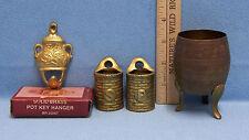 Vintage Brass Incense Pot Etching Salt & Pepper Cellars Key Hanger Lot of 3