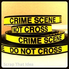 "CRIME SCENE  Ribbon.  3/8"" Grosgrain. Scrapbooking/ Craft. Police.  DO NOT CROSS"