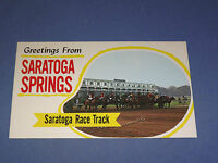 VINTAGE GREETINGS FROM SARATOGA SPRINGS RACE TRACK  NEW YORK   POSTCARD