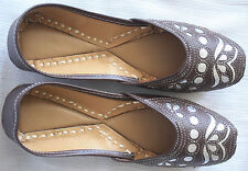 Adini Leather Jutti with Shiny Silver Fabric And Sequins - Approx. Size 9