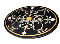 "24"" Black Marble Round Coffee Top Center Table Inlay Marquetry Kitchen Art H4563"