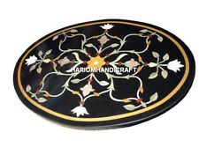 "24"" Black Marble Round Coffee Top Table Inlay Marquetry Christmas Gifts H4563"