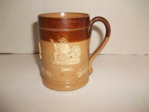 Vintage Daulton Lambeth England Mug Salt Glazed Stoneware Georgian Hunt Scene