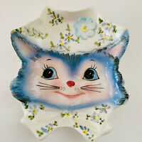 "RARE VINTAGE LEFTON ""MISS PRISS"" BLUE KITTY 1524  SPOON REST 5 1/4"" x 6 1/4"""
