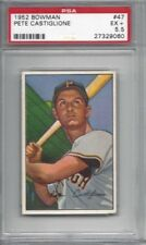 1952 Bowman baseball card #47 Pete Castiglione Pittsburgh Pirates graded PSA 5.5