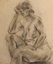 ANTIQUE IMPRESSIONIST NUDE WOMAN PORTRAIT PASTEL PAINTING