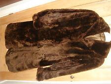 real fur vintage coat dark brown beaver lamb size 10 12 14 ( code F)