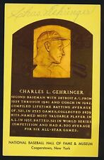 Hall of Fame YELLOW PLAQUE Postcard -CHARLIE GEHRINGER *Autographed* d.1993