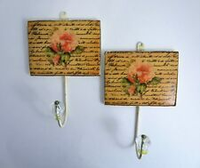 Pair Towel Robe Hat Hooks Wall Hangers Cottage Ceramic Tile Look Peach Rose