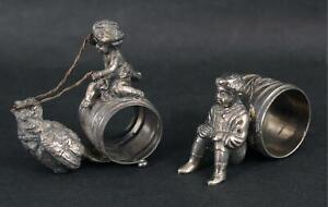 Antique Victorian Figural Silverplate Aesthetic Napkin Ring Holders Lintier 1885