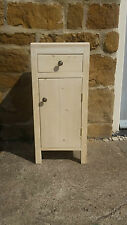 H65 W30 D30cm BESPOKE LISBON WHITE CHUNKY BEDSIDE TABLE HALL CUPBOARD DRAWER