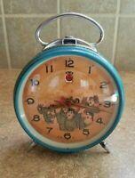 Vintage Communist Peoples Party China Clock Mao Zedong Era Blue Alarm Waving Arm