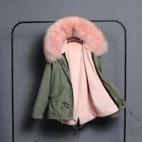 Women Real Fur Collar Hooded Rabbit Fur Lined Jacket Coat Parka Warm Outwear US