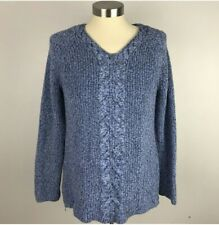 Talbots Petites Small Blue Heather Womens Sweater Cable Knit W/Side Zip