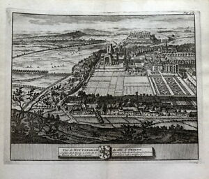 NOTTINGHAM CITY, Birds Eye View, Van Der Aa, Kip Original Antique Print 1727