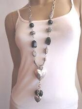 Modekette lang Damen Hals Kette Bettelkette Silber Schwarz Herz Charms C045