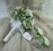 Wedding Bouquet Silk Green Hydrangea Off White Roses Pearl Bow Tulle