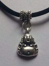 "CHINESE BUDDAH  CHARM ON BLACK LEATHER 3MM VELVET CORD  17"" CHOKER NECKLACE."