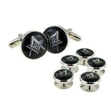 Black & Silver Enamelled Masonic Cufflinks with G & 5 Button Stud Set X2Aj317A