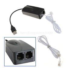 2 RJ11 Port USB 56K External Dial Up Voice Fax Data Modem V90 V92 for Win7 Vista
