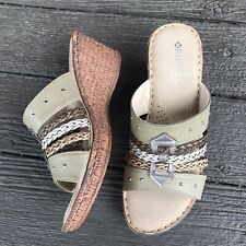 Spring Step Patrizia 38 Brown Wedge Sandal Slide US 7.5