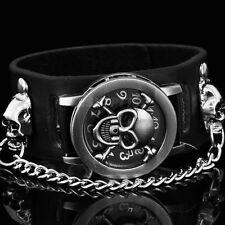 Fashion Punk Rock Chain Skull Rivet Leather WomenMen Bracelet Gothic Wrist Watch