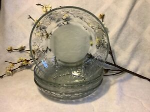 Princess House Crystal Clear Satin Set 4 Fantasia Design Individual Pasta Bowl