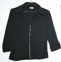 Pimkie Women's Office Casual Black 3/4 Sleeve Full Zip Shirt Blouse Top Size 40