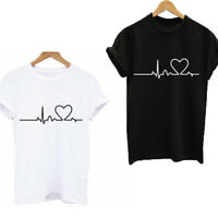 Fashion Women Ladies Short Sleeve Casual Tee T Shirt Tops Blouse Heart Printed