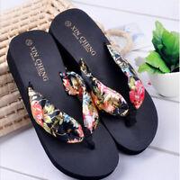 Women Bohemia Floral Beach Sandals Wedge Platform Thongs Slippers Flip Flops