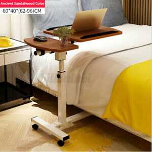 Rolling Height Angle Adjustable Laptop Desk Overbed Sofa Food Tray Table