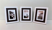 Set of 3 Cream/Whitewash Solid Wood Pictures Frames with Sepia Costal prints