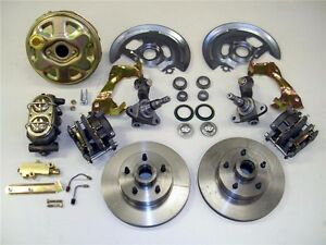 """1962 to 1967 Chevy II Nova Power Disc Brake Kit Stock Height Spindles 9"""" Booster"""
