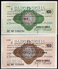 BANCO DI SICILIA 14/2/1977 UNIONE GEN.COMMERCIANTI PROV.MESSINA L.100+150 FDS