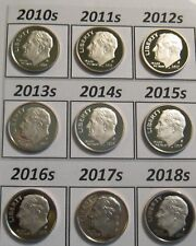 Set of 10 Dcam Clad Proof Roosevelt Dimes 2010-s to 2019-s In Stock Ready 2 Ship