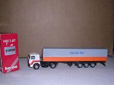 Herpa #818099 Man Cab w/Tri-Axle Covered Trailor White, Gray & Orange H.O.Ga.