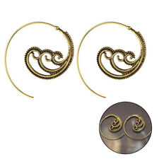 Women Round Spiral Brass Tribal Swirl Gear Earrings Hook Ear Stud Party Jewelry