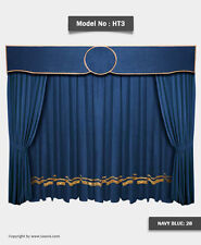 Saaria HT-3 Navy Blue Home Theater Velvet Curtains School Stage Drapes 10'Wx8'H