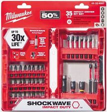 Impact Drill Bit Set Milwaukee Shockwave Steel Drilling Driver Screw (35 Piece)