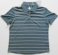 Bolle Women's Golf Collared Shirt Dark Charcoal Gray/ White Stripes Size M NWT