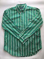 Ralph Lauren Mens Long Sleeve Button-Down Shirt Striped Green/Pink/blue Sz L Vtg